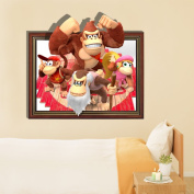 3D Baby Kids Room Cartoon Orangutan Family Wall Decals Removable Paper Gift Funny Stickers Art DIY Decoration