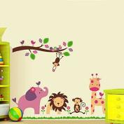 Jungle Animals Giraffe Lion Monkey Elephant Wall Stickers Kid Room Decor