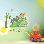 Zoo Animal Wall Sticker For Kindergarten Child Room Removable 3D Wallpaper Decor