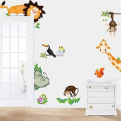 Animals Zoo Jungle Cartoon PVC Wall Paper Board Stickers Decals Kids Nursery Baby Room Decoration DIY Monkey