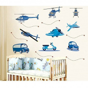 Removable Helicopter Plane And Car Wall Sticker Home Decor Wall Decal
