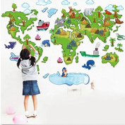 Cartoon Plane Animal Green World Map Removable Wall Sticker Home Decor