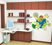 Moving Cartoon Kids Earth Wall Stickers Children's Room Art DIY Cute Decoration Wallpaper Decals Background