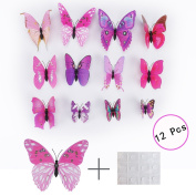 H88 12 Pcs 3D Butterfly Wall Sticker Kids Room Home Decorations Art Decal PVC