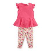 Baby Girls' Ruffled Top & Floral Legging- Actve Pink