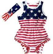 USA Flag Pattern Baby Girl's Romper Beach Wear