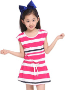Little Girls Kids Stripes Sleeveless One Piece A Line Dress with Tie Belt