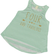 4th Birthday Tank Top, Girl 4th Birthday Outfit, Four and Fabulous
