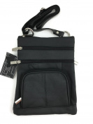 Genuine Leather Multi-Pocket Crossbody Purse Bag Black