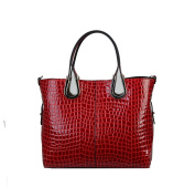 Diophy Genuine Leather Crocodile Texture Tote Handbag Y068