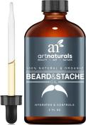 Aceite Para La Barba Natural Y Organico - Aceite Para Hacer Crecer La Barba Y El Vello Facial Mas Rapido - Tratamiento - 2 Onzas