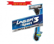 LASER SPORT 5 Lot Of 40 Triple Blade Razor Superior Smoothness & Comfort Shaving