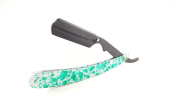 Matted Straight Razor Green Spotted Design Cutthroat Swinglock Barber Razor Shaving Derby Dorco Feather Shaving