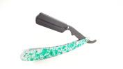 Matted Straight Razor Green Spotted Design Cutthroat Swinglock Barber Razor Shaving Derby Dorco Feather Shaving