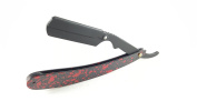 Matted Straight Razor with Spotted Red Midnight Black Swing Lock Cutthroat Razor Shaving Derby Dorco Feather Shaving
