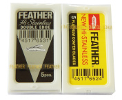 5 Yellow and 5 Black Feather Razor Blades Total 10 Blades NEW Hi-stainless Double Edge High Qaulity