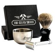 The Clean Shave Complete Wet Shaving Set | Bundle Includes 3 Items