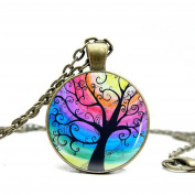 Art Tree Long Chain Women Pendant Necklace Vintage Bronze Charm Necklace Life of Tree Glass Necklace Jewellery for Women for Mom