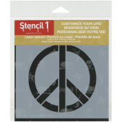 Stencil1 S1_01_115_S Peace Signs Stencil, 15cm by 15cm , White