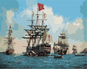 [Linen canvas & wooden frame] DIY Oil Painting, Paint by Numbers kit Sailing Ships on the sea 39*49*2.3 cm MS8676