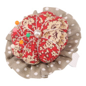 Neoviva Cotton Twill Fabric Coated Wrist Wearable Pin Cushion for Needlework, Style Flower Blossom, Floral Mandarin Red Polka Dot