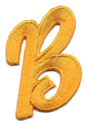 "LETTERS - Golden Yellow Script 5.1cm Letter ""B"" - Iron On Embroidered Applique"