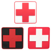 Bundle 3 pieces - Medic Red Cross Tactical PVC rubber patches with hook and loop backing Badge appliques 6cm