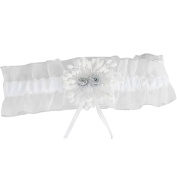 Dimart White Wedding Bridal Accessory Lace Garter Band With Silvery Rim and Alloy Decoration