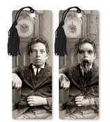 Dimension 9 3D Lenticular Bookmark with Tassel, 1800s Zombie Boy with Clock, Black/White