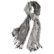 Women's Treble Clef Pashmina Musical Notes Silver Scarf