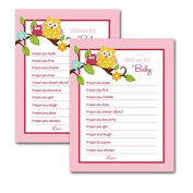 Happy Owls Pink Baby Shower Printed Wishes for Baby Advice Cards Fill-in