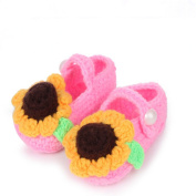 FuzzyGreen® Sunflower Baby Newborn Infant Girl Boy Hand Knitting Crochet Pre Walker Toddler Buckle Shoes Socks Booties