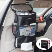 Backseat Car Organiser, Almatess Auto Seat Multi-Pockets Insulated Car Seat Drinks Holder Bag | Car Travel Cooler Storage Bag | FREE GIFT Car Insurance Holder Case | Eco Friendly Material