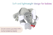 Aldinn Plush Elephant Pacifier - 100% Non Toxic Safe ECO Friendly- Soothing and Comfortable Toy with Detachable Silicone Baby Binky - Clip Holder - Squeaky Sound