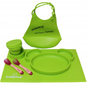 Children Placemat Set by Kidyme™ All-in-One Kids Flatware Dining Tray - Includes Plate, Silicon Bucket Toddler Bib With Adjustable Snaps, Child Cup, Fork with Spoon - Dishwasher Safe
