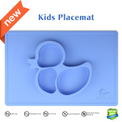 Kids Placemat,Silivo 38cm x 25cm One Piece Children Feeding Mat, Silicone Duck Design Dinnerware Super Self Suction Pad Non-slip Baby Placemats Tableware - Warm Food Holder for Toddlers