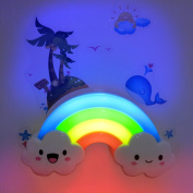 MStore's Smart LED Night Light Mini Sleeping Lamp with Voice and Light Sensor, Smiley Face Cloud, Decorative Light with Wall stikers in Nursery, Kids Bedroom, Low Power, Rainbow Colour