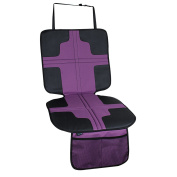 Child safe car seat protector mat with foam padded and anti-slip back, waterproof in purple colour, new design from Termichy, Machine Washable.