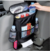 SoleSu Car Seatback Organiser Multifunctional Aluminium Foil Insulation Bags Multi-Pockets Travel Storage Bag Tissue Storage Bag -Black