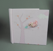 Pretty Pale Pink Photo Photograph Picture Album with Tree and Cloth Bird ideal Christening or New Baby Gift