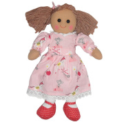 Pink pony print dress rag doll with red shoes and bows in her bunches. size 40cm. 100% cotton outer, hollow fibre filling. Suitable for all ages.