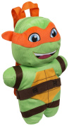 NINJA TURTLES MICHELANGELO PLUSH BACKPACK SOFT TOY RUCKSACK ZIP SCHOOL CUDDLY