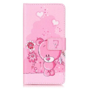 Huawei P9 Lite Case,Huawei P9 Lite Leather Case, Huawei P9 Lite Cover,Flip Wallet case for Huawei P9 Lite, Pink Bear Patterned PU Leather Stand Function Protective Cases Covers with Card Slot Holder Wallet Book Design Fordable Magnet Closure Case for H ..