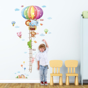 Decowall, DM-1606, Animal Hot Air Balloons Height Chart peel & stick Nursery wall decals stickers