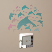 31 Dolphins Pink Green Tan Indoor or Outdoor Wall Art Stickers on a Sheet of A4