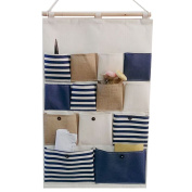 GudeHome New Style Cotton Fabric Larger 13 Pockets Wall Door Closet Hanging Storage Bag Organiser Retro Navy Stripe-Blue