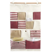 GudeHome New Style Cotton Fabric Larger 13 Pockets Wall Door Closet Hanging Storage Bag Organiser Retro Navy Stripe-Red