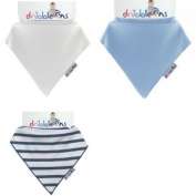 Dribble Ons Boys Bandana Bibs - 3 Pack - Blue/Striped/White