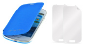 PhoneStar Flip Cover Case Cover + 2x Screen Protector for Samsung Galaxy S3 Mini i8200 in blue