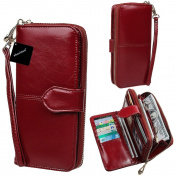 xhorizon TM SR Women Large Capacity Leather Zipper Wallet Purse Wristlet Handbag with Removable Wrist Strap for iPhone SE/5/6/6 Plus Samsung S5/S6/S6Edge/S7/S7Edge + LG G3 G4 G5